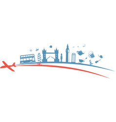 united kingdom flag symbol element with aeroplane vector image