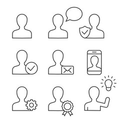 user profile linear icons on white background vector image