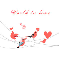 valentine greeting card with birds in love vector image