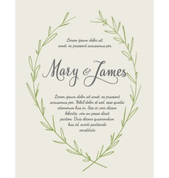 Wedding Invitation with Hand drawn laurel wreaths vector