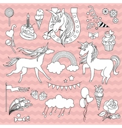 White unicorns with a black outline on pink vector