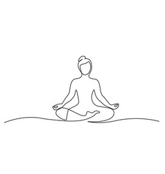 woman sitting in lotus pose yoga continuous one vector image