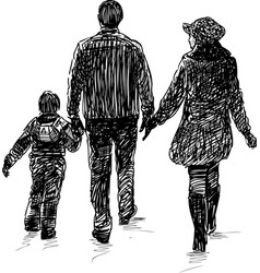young family on a walk vector image