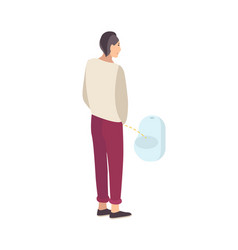 Young guy standing and peeing into urinal isolated vector