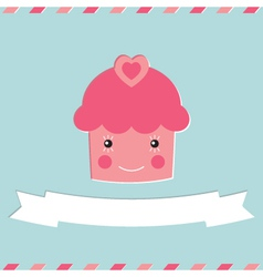 Cute cupcake Valentines Day card vector image vector image