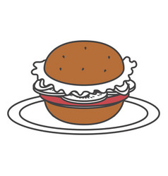 dish with delicious hamburger fast food vector image vector image