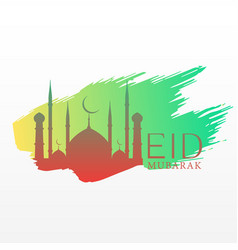elegant eid festival greeting with mosque and ink vector image