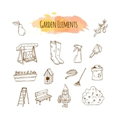 Hand drawn garden tools Spring vector image