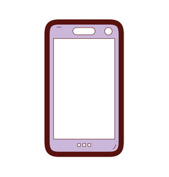 line color smartphone technology to call and talk vector image vector image