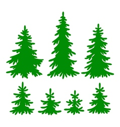set of fir-trees silhouettes vector image vector image