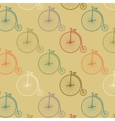 Vintage high wheeler seamless pattern vector image