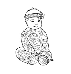 Baby girl coloring vector image vector image