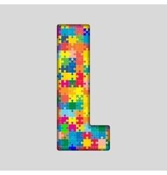 Color Puzzle Piece Jigsaw Letter - L vector image