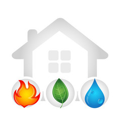 fire water drop and green leaf design vector image vector image