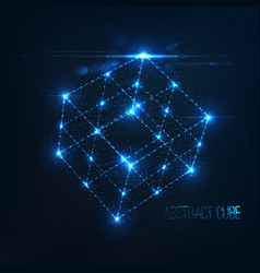 neon cube in with lens flare and glowing particles vector image