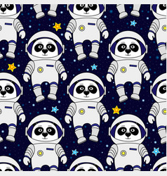 panda astronaut in space seamless pattern vector image vector image