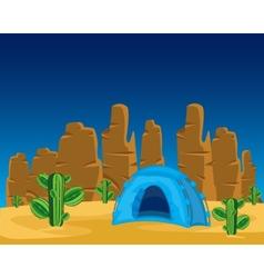 Tent in desert vector image