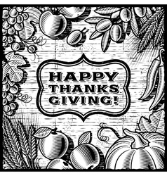 Thanksgiving Retro Card black and white vector image