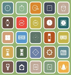 Time flat icons on green background vector image