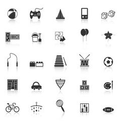 Toy icons with reflect on white background vector image vector image