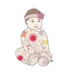 Baby girl vintage vector image