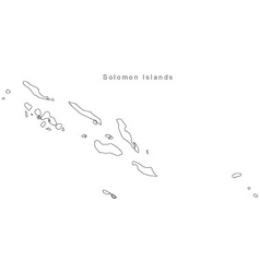 Black White Solomon Islands Outline Map vector image