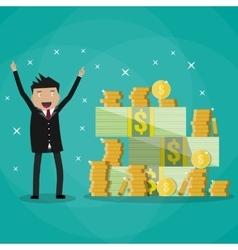 businessman standing near huge pile of money vector image vector image