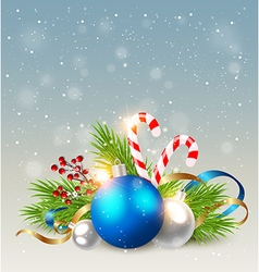 Christmas background with blue decoration vector image