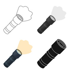 flashlight icon in cartoon style isolated on white vector image
