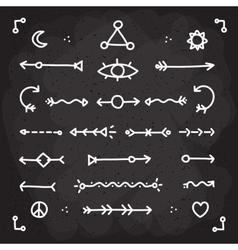 Hand drawn chalk arrows set vector image vector image