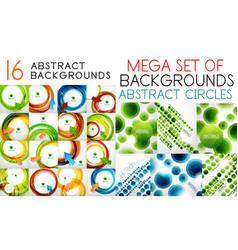 mega set of swirl circles abstract vector image