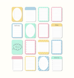 sheets of paper template notepad collection of vector image vector image