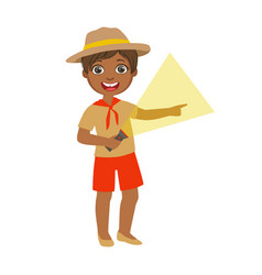young boy scout holding a flashlight a colorful vector image