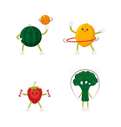 funny lemon and strawberry training doing sport vector image vector image