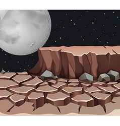 Nature scene with dryland on fullmoon night vector image