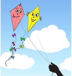 two kites in the sky vector image vector image