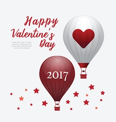 Valentines day 2017 heart hot air balloons vector