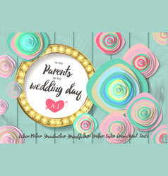 wedding invitation gold circle flowers vector image vector image