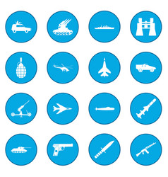 16 weapon icon blue vector