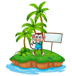 A happy monkey in the island with an empty vector image