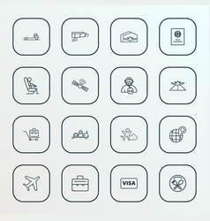 airport icons line style set with video control vector image