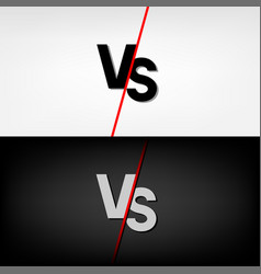black and white versus vs letters vector image