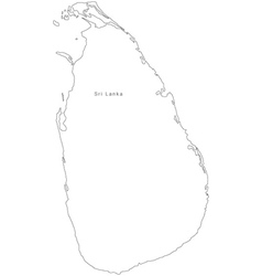 Black White Sri Lanka Outline Map vector image