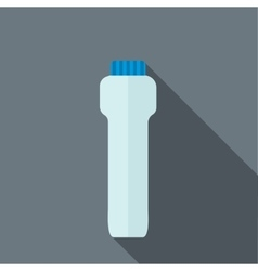 Blue sport plastic water bottle icon flat style vector image