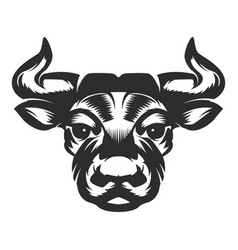bull head icon on white background vector image vector image