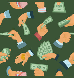 Businessman human hands hold paper money backs vector
