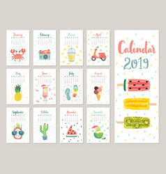 Calendar 2019 cute monthly calendar with vector