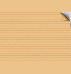Cardboard corrugated sheet with curled corner vector