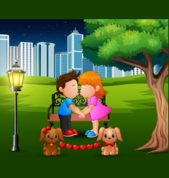 Cartoon romantic couple kissing under the tree in vector