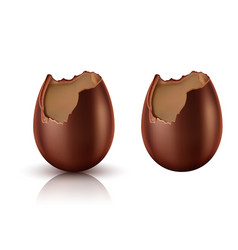 chocolate egg whole and bitten realistic vector image